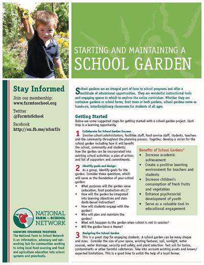 NFSN Starting & Maintaining a School Garden Factsheet